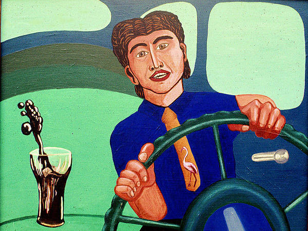 Surreal Fantasy Portraits Poster featuring the print Man Driving With Coke by Paul Knotter