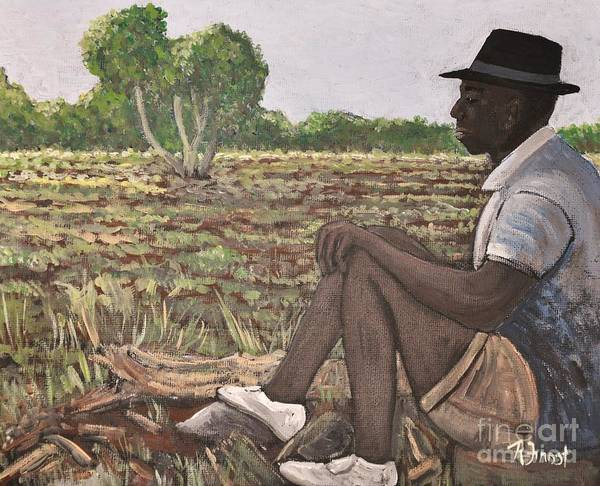 Africa Poster featuring the painting Man In Field Burkina Faso Series by Reb Frost