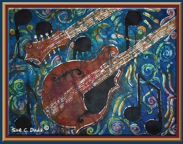 Mandolin Poster featuring the painting Mandolin - Bordered by Sue Duda