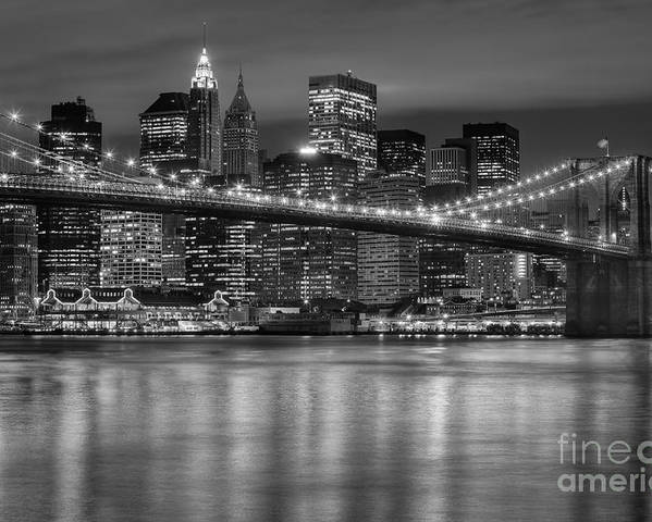 Clarence Holmes Poster featuring the photograph Manhattan Night Skyline Iv by Clarence Holmes