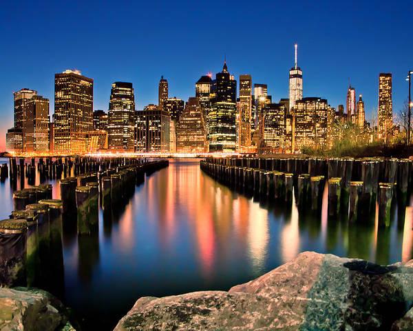 New York City Poster featuring the photograph Manhattan Skyline At Dusk by Az Jackson