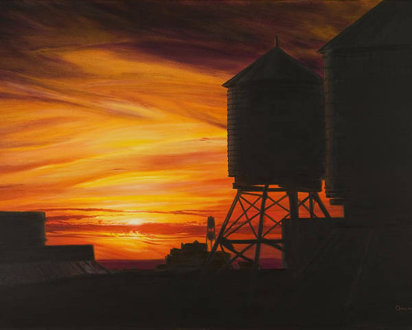 Manhattan Sunset Poster featuring the painting Manhattan Sunset by Christopher Oakley