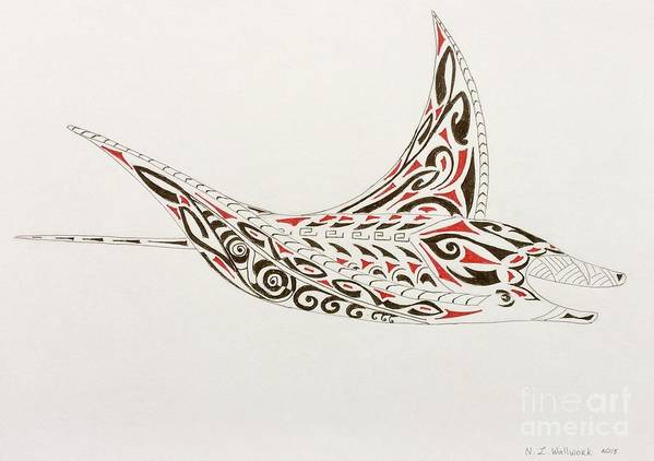 2b306f165 Manta Ray Poster featuring the drawing Manta Ray With Tribal Tattoo by  Natalia Wallwork