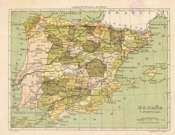 Atlas Poster featuring the mixed media Map Of Spain by Roy Pedersen