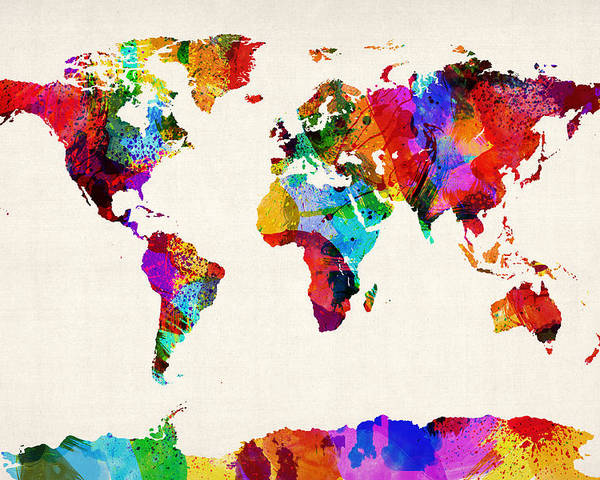 Map Of The World Poster featuring the digital art Map Of The World Map Abstract Painting by Michael Tompsett