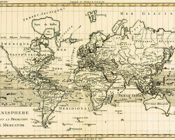 Maps Poster featuring the drawing Map Of The World Using The Mercator Projection by Guillaume Raynal