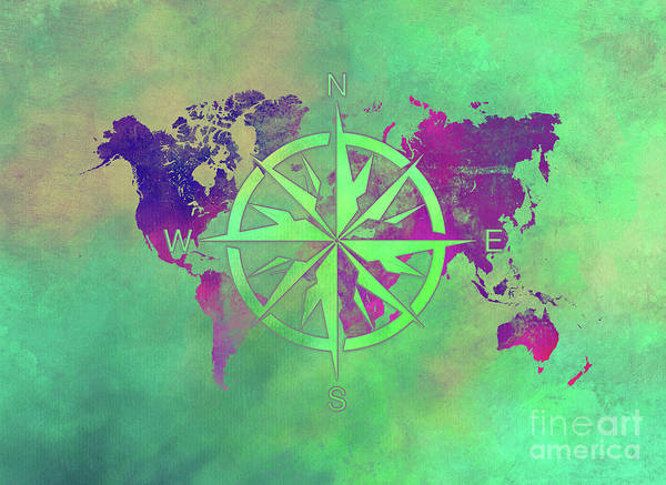 Map Of The World Poster featuring the digital art Map Of The World Wind Rose 3 by Justyna JBJart
