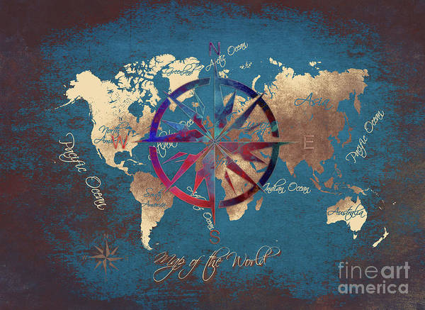 Map Of The World Poster featuring the digital art Map Of The World Wind Rose 4 by Justyna JBJart