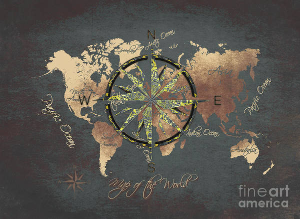 Map Of The World Poster featuring the digital art Map Of The World Wind Rose 5 by Justyna JBJart