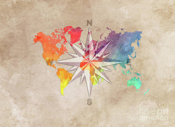 Map Of The World Poster featuring the digital art Map Of The World Wind Rose 7 by Justyna JBJart