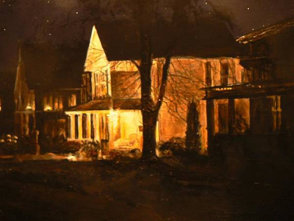 Night Scene Poster featuring the painting Maple Avenue Nocturne by Thomas Akers