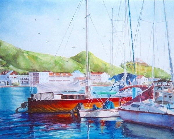 Watercolor Painting Poster featuring the painting Maragot Harbor by Laura Lee Zanghetti