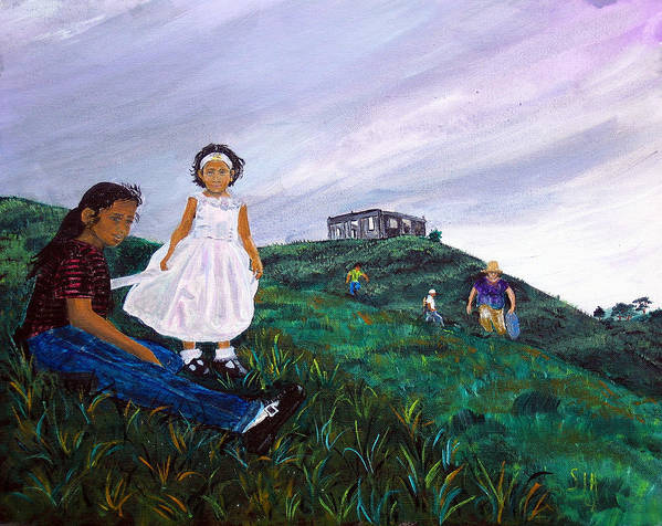 Landscape Poster featuring the painting Marbelys And Rebecca by Sarah Hornsby