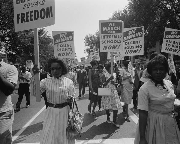History Poster featuring the photograph March On Washington. African Americans by Everett