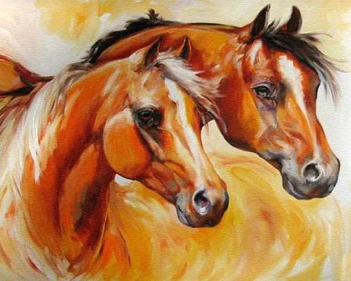 Equine Poster featuring the painting Mare And Stallion By M Baldwin Sold by Marcia Baldwin