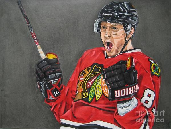 Chicago Poster featuring the drawing Marian Hossa by Brian Schuster