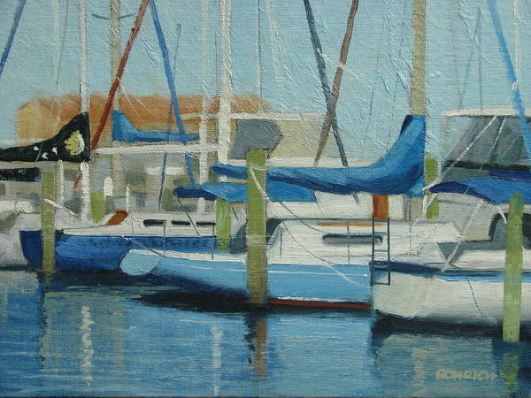 Boat Marinas Poster featuring the painting Marina No 4 by Robert Rohrich