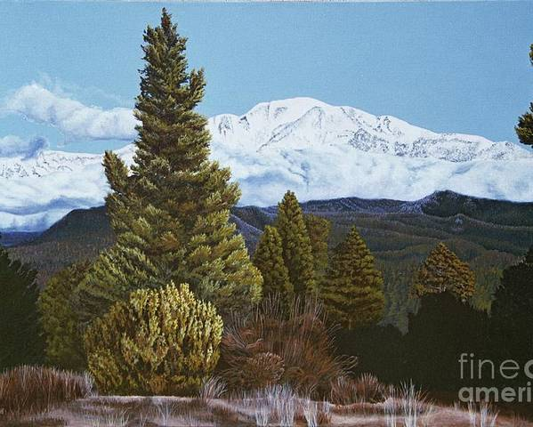 Landscape Poster featuring the painting Marion Mountain In Winter by Jiji Lee
