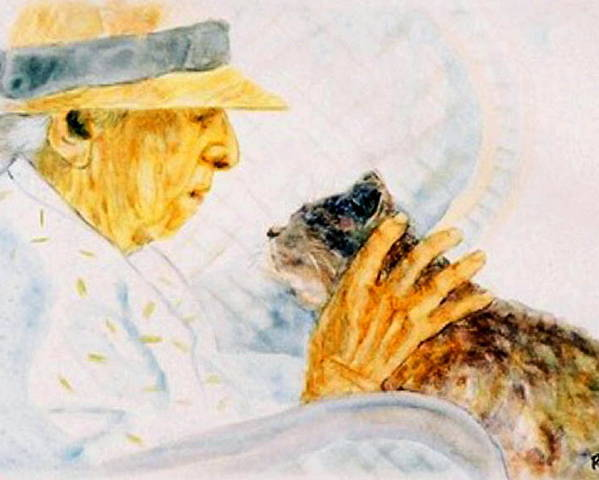 Marjory Poster featuring the painting Marjory And Her Cat by Ruth Mabee
