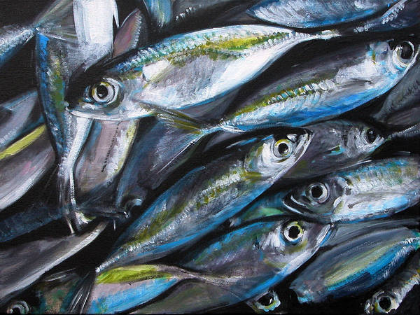 Fish Poster featuring the painting Market Day by Fiona Jack