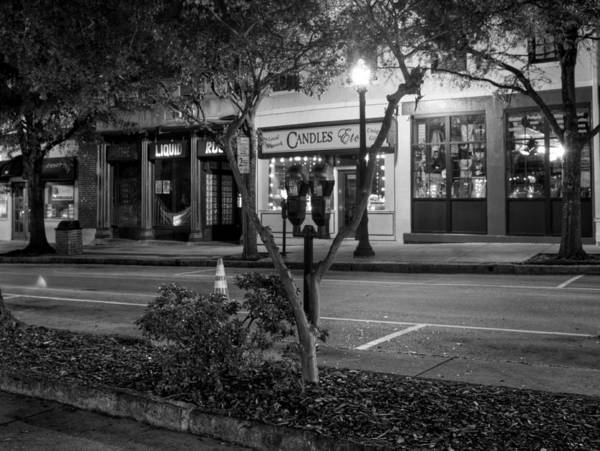 Market Street Poster featuring the photograph Market Street At Night In Black And White by Greg Mimbs