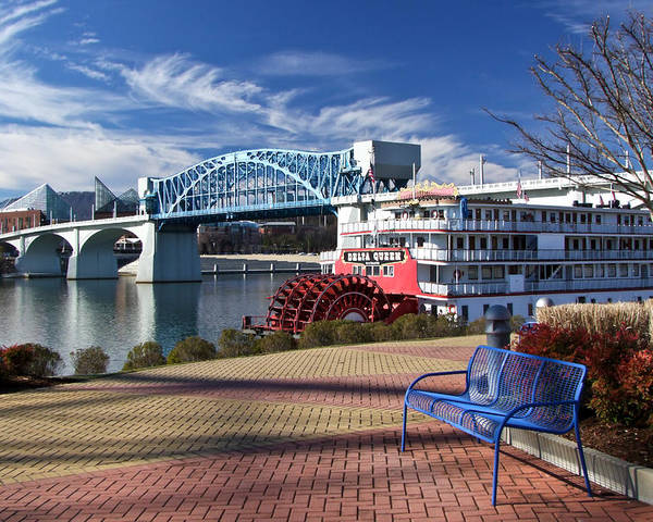 Landscape Poster featuring the photograph Market Street Bridge With The Delta Queen From Coolidge Park by Tom and Pat Cory