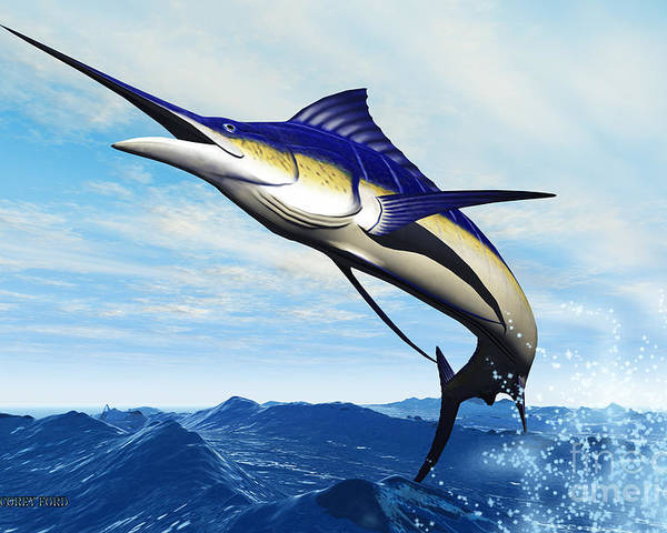 Marlin Poster featuring the painting Marlin Jump by Corey Ford