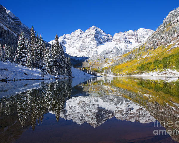 Aspen Poster featuring the photograph Maroon Lake And Bells 1 by Ron Dahlquist - Printscapes