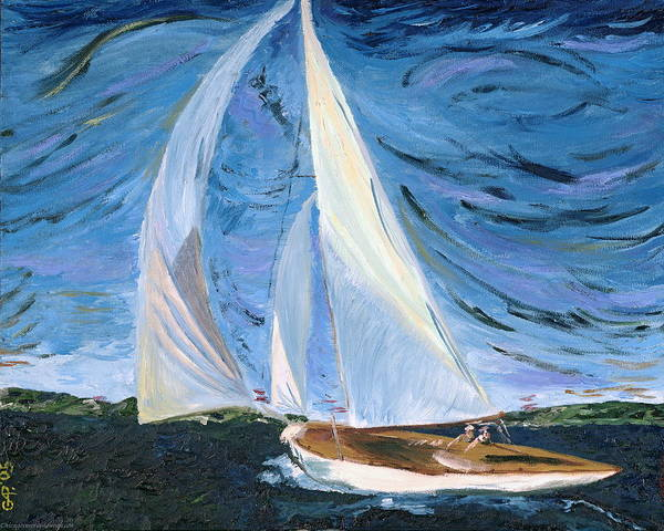 Sailboat Poster featuring the painting Marriage by Gregory Allen Page