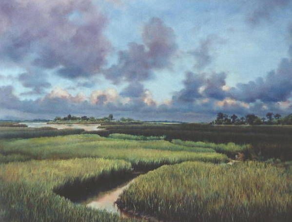 Water Poster featuring the painting Marsh Dawn by Marion Hylton