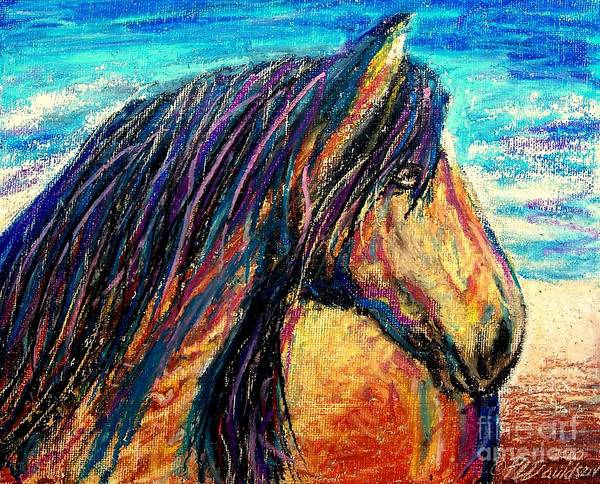 Marsh Tacky Poster featuring the painting Marsh Tacky Wild Horse by Patricia L Davidson