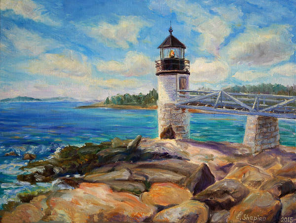 Marshal Point Poster featuring the painting Marshal Point Light by Elena Shapiro