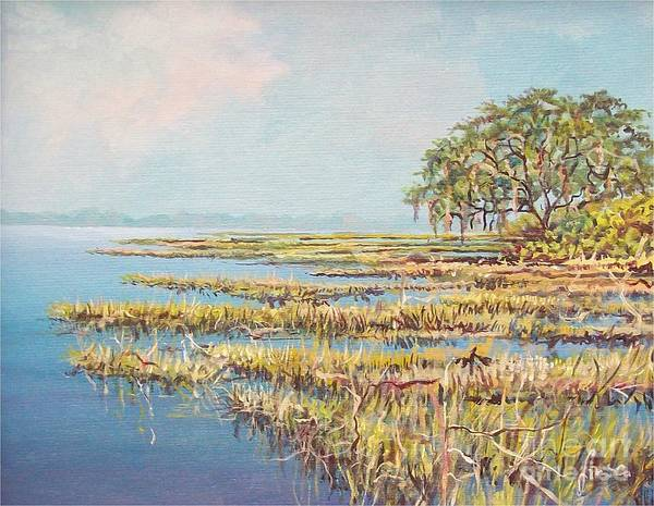 Marsh. Nature Poster featuring the painting Marshland by Sinisa Saratlic