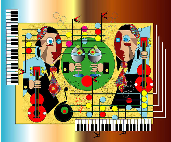 Music Poster featuring the digital art Martini Strings by George Pasini