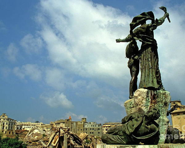 Debris Poster featuring the photograph Martyr's Statues In Beirut by Sami Sarkis