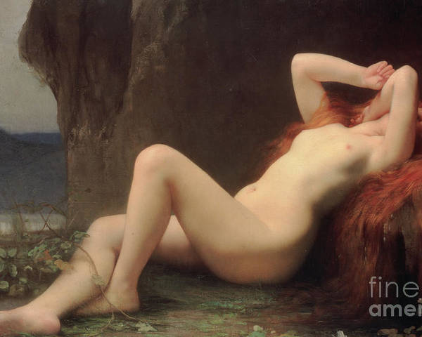Nude Poster featuring the painting Mary Magdalene In The Cave by Jules Joseph Lefebvre