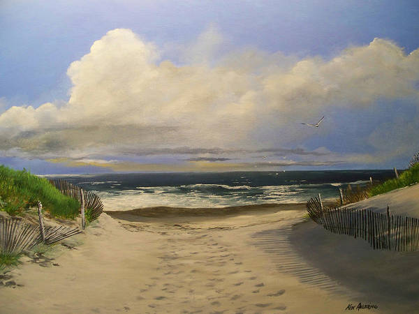 Beac Poster featuring the painting Mary's Beach by Ken Ahlering