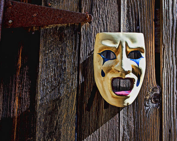 Mask Poster featuring the photograph Mask On Barn Door by Garry Gay