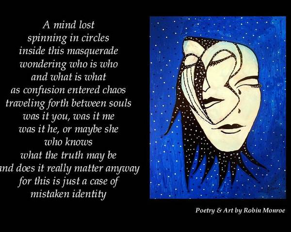 Poetry Poster featuring the mixed media Masquerade - Poetry In Art by Robin Monroe