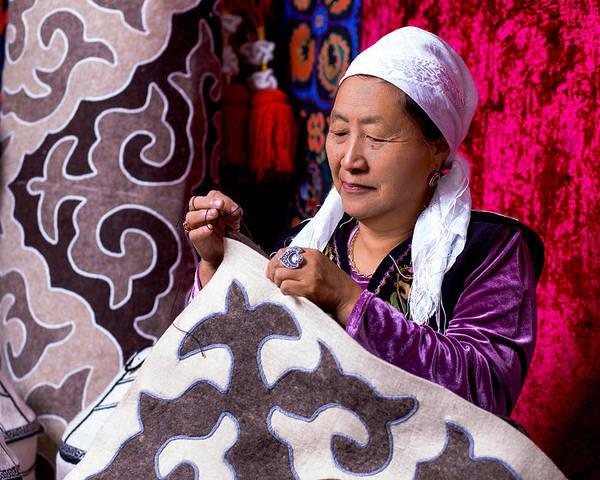 Felt Carpet Poster featuring the photograph Master Of Kyrgyz National Carpet - Shyrdak by Marat Jolon