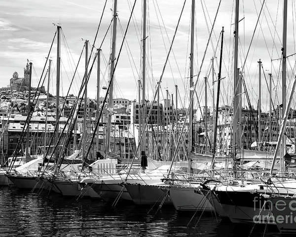 Masts In The Harbor Poster featuring the photograph Masts In The Harbor by John Rizzuto