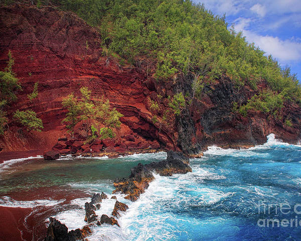 America Poster featuring the photograph Maui Red Sand Beach by Inge Johnsson