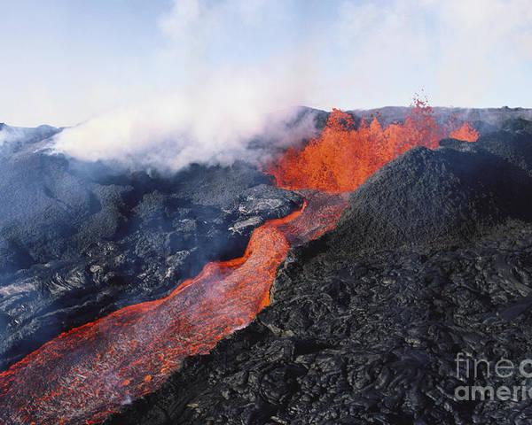 A'a Poster featuring the photograph Mauna Loa Eruption by Joe Carini - Printscapes