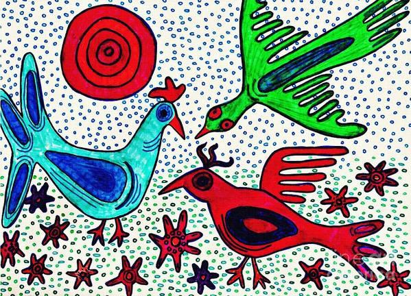 Bird Poster featuring the drawing Mayan Birds by Sarah Loft