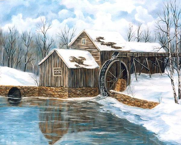 Painting Landscape Poster featuring the painting Maybry Mill by Marveta Foutch