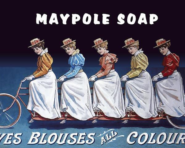 Soap Poster featuring the digital art Maypole Soap Retro Vintage Ad 1890's by Daniel Hagerman