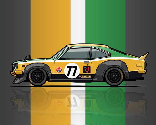 Car Poster featuring the digital art Mazda Savanna Gt Rx3 Racing Yoshimi Katayama 1975 by Monkey Crisis On Mars