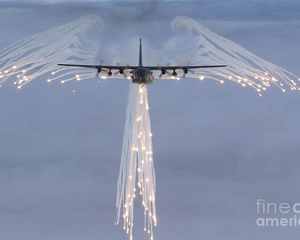 Mc-130 Poster featuring the photograph Mc-130h Combat Talon Dropping Flares by Gert Kromhout