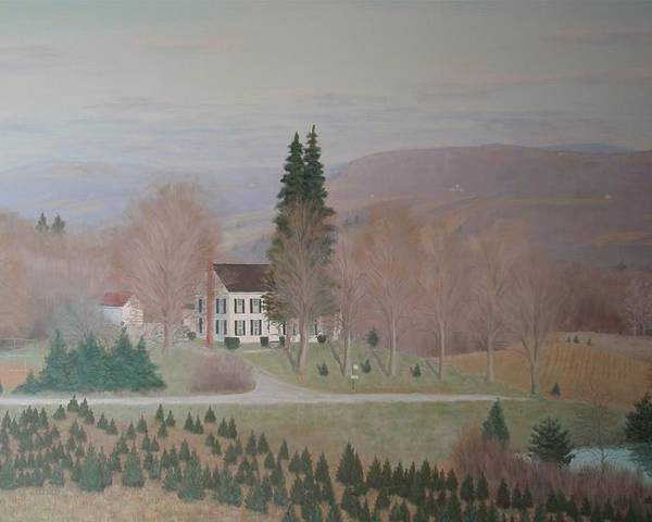 Old Federal Farm House Poster featuring the painting Mccarty Farm House by Joseph Stevenson