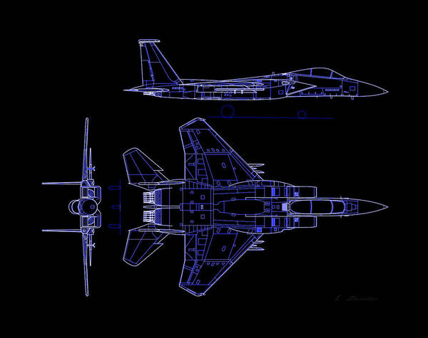 F-15 Eagle American Twin-engine Poster featuring the photograph Mcdonnell Douglas F-15 Eagle Black Diagram Indigo Lines by L Brown